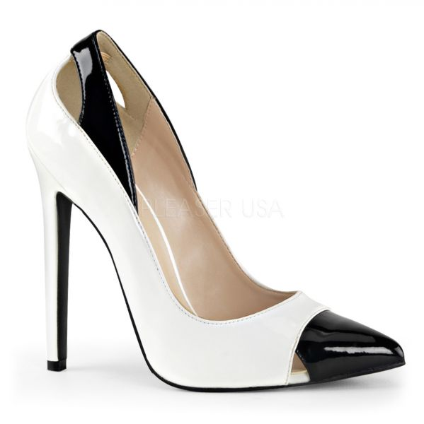 High Heel Stiletto Pumps zweifarbig weiss-schwarz SEXY-22